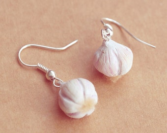 GARLIC Earrings, Miniature Food Jewelry, Gift for Cooks, Chefs and Vampire Hunters