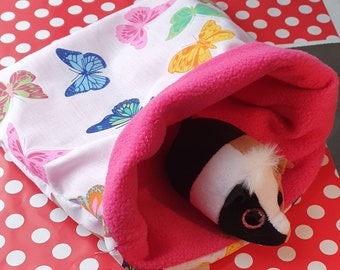 Fabric and Fleece snuggle pouch, snuggle sack handling cup hideaway. Guinea pig hamster gerbil rat ferret various designs and sizes