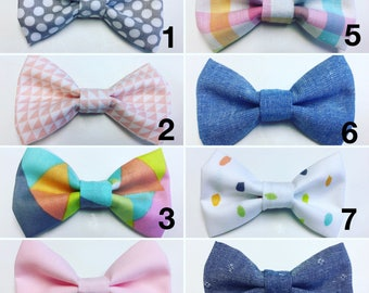 Adjustable Toddler / Baby Bow Tie - Denim & Pastel Prints