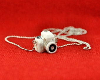 Personalized necklace Canon 100D White camera miniature / Personalized gift / Personalized necklace