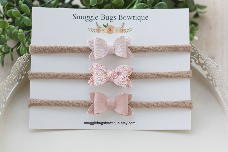 Peach and Blush- Set of 3 Tiny 1 5 inch Glitter and Faux Leather Bows Nylon  Headbands- Powder Pink, Blush Shinner And Peach Glitter