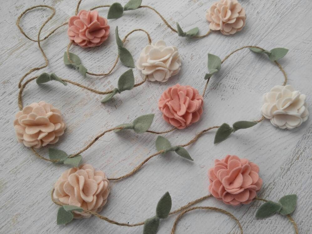 Wool Felt Flower Garland Wall Hanging Home Decor Nursery Etsy