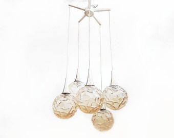 Mid Century Kaskade Kronleuchter Deckenlampe Mit 5 Globen Amber Glas