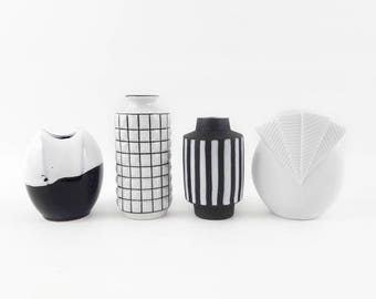 Vintage Vase Collection in Black and White with Patterns