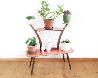Mid Century Stand Plant German Display Stand in Red