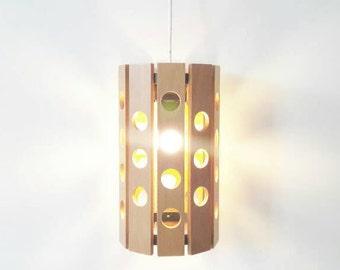 Vintage Pending Lamp Scandinavian Style Made of Wood