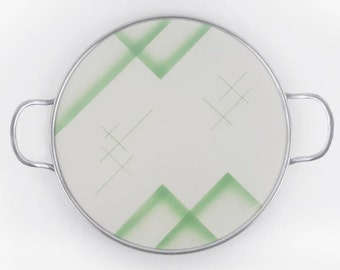 Mid Century Tray Made of ceramic with Chrome Handles in Cream White and Green