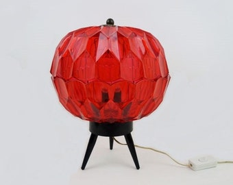 Mid Century Lamp Table Lamp with Red Plastic Gemstone Looking Shade and Black Tripod Foot Big Size