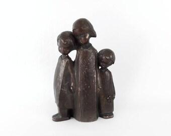 Vintage Wooden Sculpture of Three Children