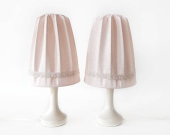 Vintage Bedside Lamps 'Marie Antoinette' in White and Baby Pink