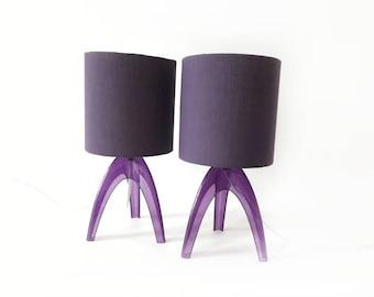 Vintage Bedside Lamps in Purple Set of 2
