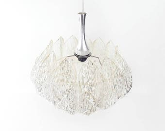 Mid Century Pendant Light Shade Made of Clear Textured Plastic