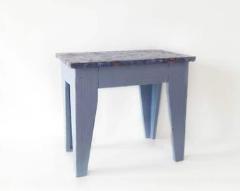 Vintage Stool Made of Wood in Blue