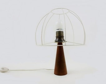 Mid Century Teak Bedside Lamp with Wire Lampshade