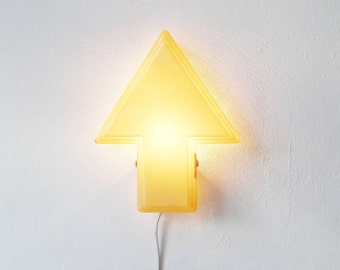 Mid Century Wall Lamp Arrow Shaped Made of Plastic in Beige