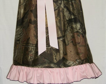 Camo Ruffle Dress / Pink / Mossy Oak Camo / Flower Girl / Wedding / Newborn / Infant / Baby / Girl / Toddler / Custom Boutique Clothing