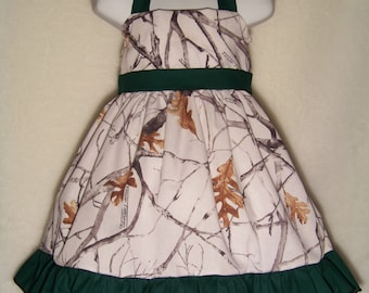 Camo Halter Dress / True Timber + Hunter Green / Flower Girl / Wedding / Bridesmaid / Infant / Baby / Girl / Toddler / Boutique Clothing