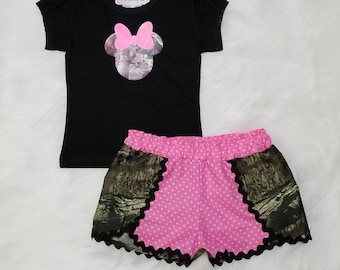 Minnie Mouse Coachella Short Set / Pink & Camo / Mossy Oak Camo / Personalized / Disney Vacation / Birthday / Girl / Baby / Toddler