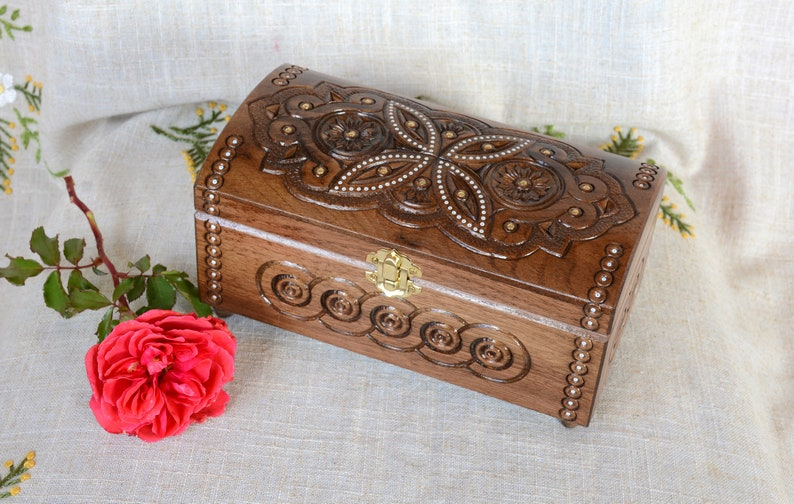 Personalised Jewelry Box Wood Personalized Wooden Jewellery Box Large Engraved Initial Box Ring Keepsake Box Carving Monogram Box B37