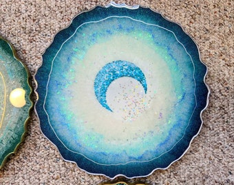 Moonlight Centerpiece / Tray Geode Round Abstract Painting- Resin Beach Home Decor Abstract Alisha Eckman Art