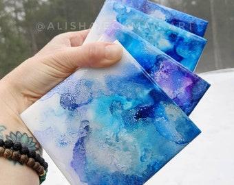Turquoise Coaster Set- Resin Ocean Waves Beach Home Decor Abstract Alisha Eckman Original Artwork Art Artist Epoxy