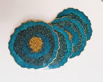 Turquoise Geode Coaster Set- Resin Ocean Waves Beach Home Decor Abstract Alisha Eckman Original Artwork Art Artist Epoxy