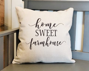 Farmhouse Decor Home Sweet Farmhouse Pillow Cover - Decorative Pillow Cover - Farmhouse Pillows - Rustic Decor Decorative Throw Pillows