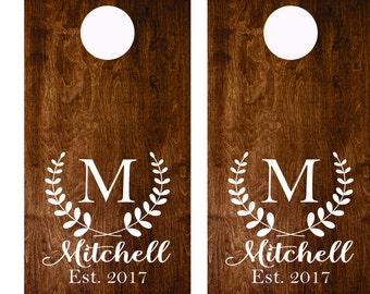 Wedding Sign Decal - Monogram Cornhole Decals Set of Two Cornhole Board Game Decals - Wedding DIY Decals - Wedding Decor Decals Vinyl