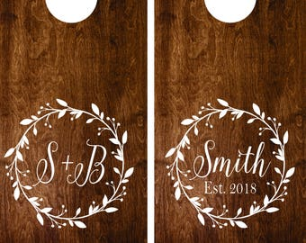 Wedding Sign Decal - Monogram Cornhole Decals Set of Two Cornhole Board Game Decals - Wedding DIY Name Decals - Wedding Decor Decals Vinyl