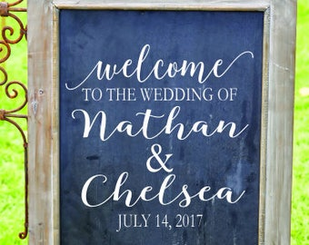 Welcome Wedding Sign Decal - Rustic Wedding Decor - Rustic Wedding Signs - Monogram Decals - Wedding DIY Decals - Custom Wedding Sign Decals
