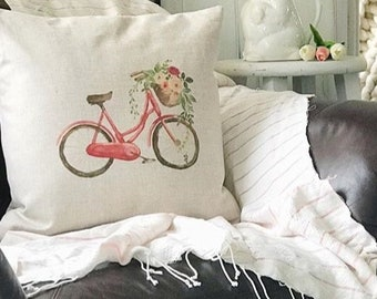 Farmhouse Decor Bicycle Pillow Cover  - Farmhouse Pillow - Farmhouse Pillow Covers - Rustic Pillow - Rustic Decor - Phrase Pillow