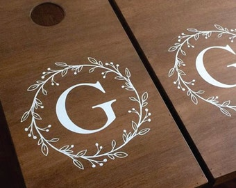 Corn Hole Board Decals - Wedding Decor Rustic - Personalized Wedding Decor - Cornhole Decals - Wedding Monogram - Decals for Cornhole Game