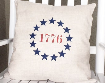 Americana Memorial Day Pillow Cover - Linen Pillow Cover - Farmhouse Decor - Farmhouse Pillow Covers Rustic Pillow Rustic Decor 4th of July