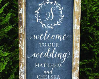 Wedding Sign Decals - Welcome Wedding Decals - Rustic Wedding Decor - Monogram Name Decals - Wedding DIY Decals - Custom Wedding Sign Decals