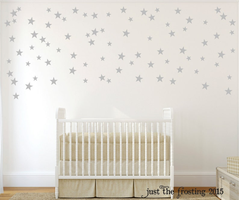 31386bec3232f Silver Star Wall Decals - Confetti Star Decals Set of 140 - Silver or Gold  Decals