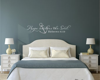 Hope Anchors The Soul Wall Decal- Hebrews 6:19 Vinyl Wall Decal - Scripture Vinyl Letteringl- Bedroom Anchor Wall Decal- Wedding Decal Gift