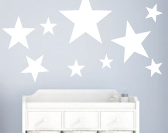 Silver Star Wall Decals - Large Confetti Star Decals Set of 9 - Large Silver or Gold Decals Wall Decals