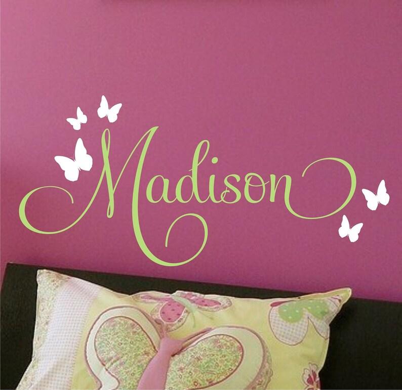 Vinyl Lettering Wall Art Wall Decor Children Decor Butterflies Nursery Monogram Vinyl Wall Decal