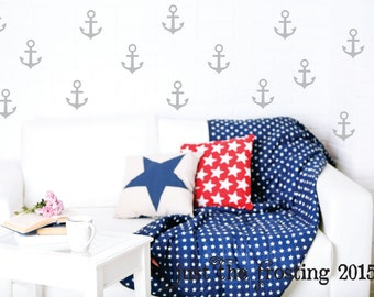Anchor Wall Decals - Nautical Wall Decals Decor - Pattern Wall Decals - Set of 50