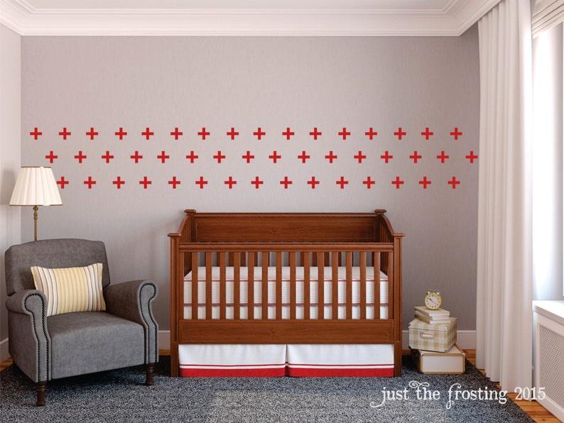 Set of 48 Cross Decal Swiss Cross Pattern Wall Decals Plus Sign Wall Decal -Cross Pattern Wall Decor Neutral Nursery