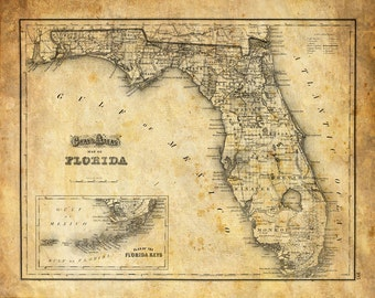 Print Map Of Florida.Florida Map Etsy