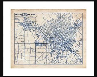 Blueprint map etsy san jose california map 1944 street map vintage blueprint grunge print poster malvernweather Choice Image