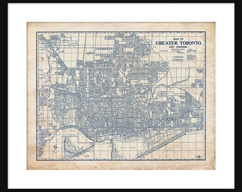 Blueprint map etsy toronto canada map 1944 street map vintage blueprint grunge print poster malvernweather Image collections