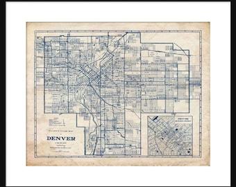 Denver street map   Etsy