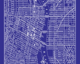 San francisco msp street map vintage blueprint print poster etsy portland oregon street map vintage blueprint print poster malvernweather Image collections