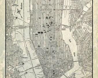Street Map Of Manhattan New York.Manhattan Street Map Etsy