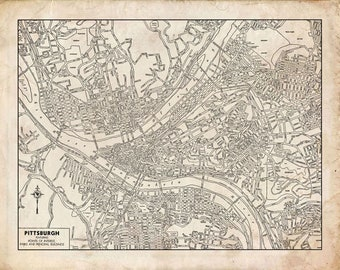 Pittsburgh Map Etsy - Vintage road maps for sale