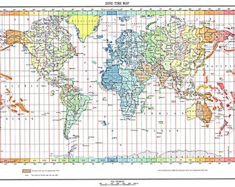 World map world travel mapprint poster world map of the time zones full color 1893 print poster gumiabroncs Image collections