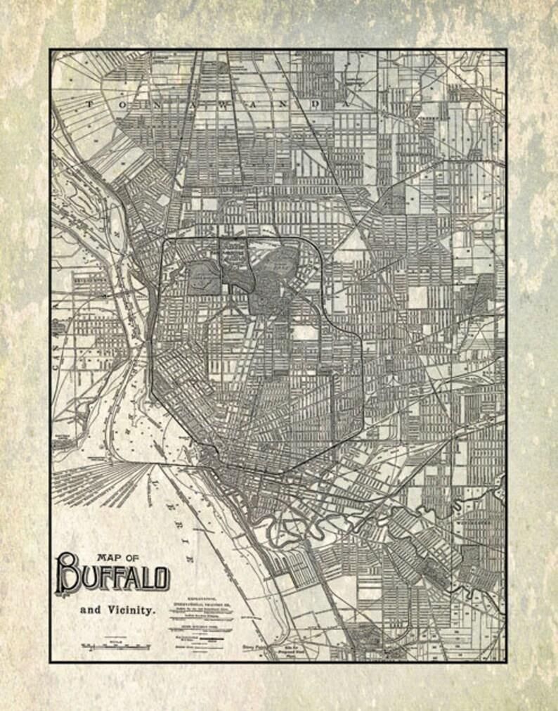 Street Map Of New York.Buffalo Map New York Street Map Vintage Gray Etsy