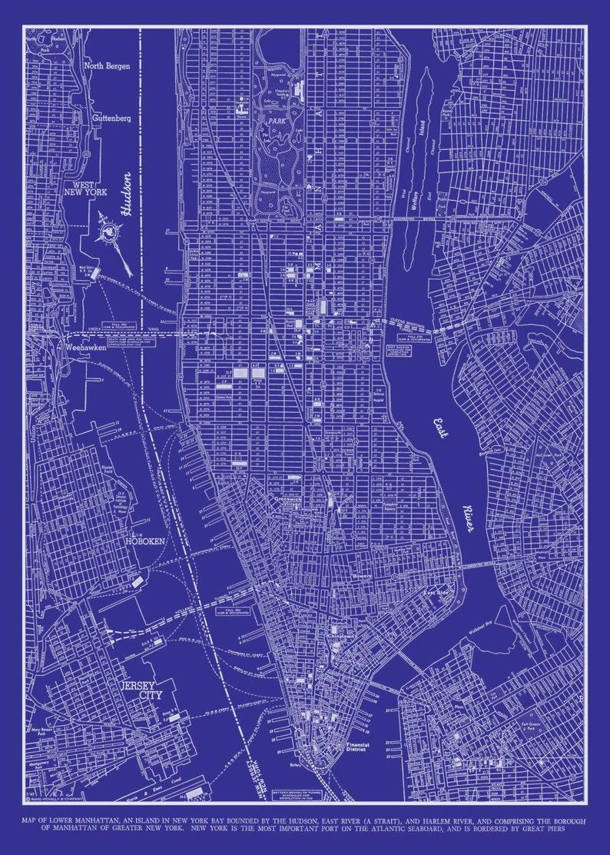Street Map Of New York.1944 New York City Manhattan Street Map Vintage Blueprint Etsy